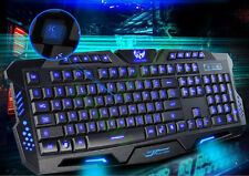 Backlit Pro Gaming USB Keyboard Multimedia Illuminated Color LED USB Wired