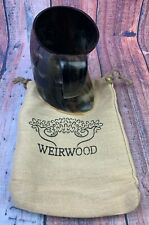 Tankard with Burlap Bag by Weirwood Polished Viking Drinking Ox Horn