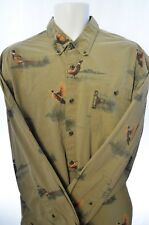 Men's Columbia Authentic Ducks Flying Button-Front Green Shirt L
