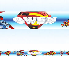 SUPERMAN PERSONALISED WALL BORDER STRIPS children boys bedroom wallpaper borders