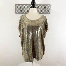 Michael Kors Sequin Top Gold Tan Knit Back, 1X
