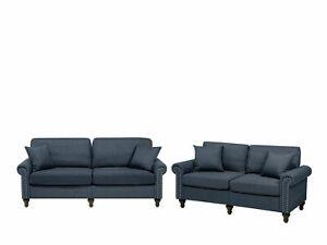Modern Upholstered Sofa Set 2 and 3 Seater Throw Pillows Dark Grey Otra