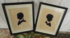 Original 2 set Laurene Rose Diehl silhouette paper cutout boy & girl folk art