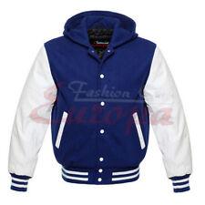 Varsity Wool Letterman Jacket Royal Blue with White Real Leather Sleeves Hoodie