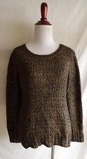 NWT Eileen Fisher XS Ballet Neck Loose Knit Sweater Top Mohair Sheen Gold Black
