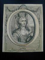 Rare gravure médaillon Diane XVIIème siècle estampe ancienne eau forte et burin