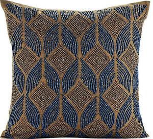 "Blue Cushion Cover 12""x12"" Decorative Silk,Arabic Lattice Beaded - Moroccan Blue"