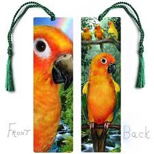 PARROT Large BOOKMARK Tassel Pet Sun Conure Bird Art Book Card Figurine ORNAMENT