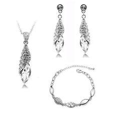 Bridal Jewellery Set White Crystal Teardrop Earrings Necklace & Bracelet S278
