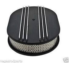"CHEVY FORD MOPAR 12"" OVAL ALUMINUM AIR CLEANER FINNED BLACK Nostalgia partial"
