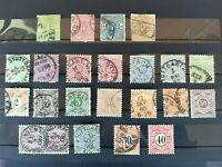 Wurttemberg 1869-1900, 23 stamps (used, 2 MH) with 1862 9 k + more high values