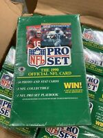 1990 Pro Set NFL Football Cards Series 1 Wax Pack Box Factory Sealed From Case