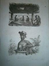 gravure 1839 Iles Marquises  Dumont d'Urville Intérieur de case , femme Saltikof
