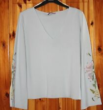 LADIES LONG SLEEVE M&S PER UNA  SUMMER TOP V NECK  MINT COLOUR  SIZE 18