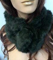 dark green genuine real rabbit fur pom pom scarf neck warmer collar shawl stole
