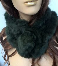 dark green genuine real rabbit fur pom pom scarf neck warmer collar shawl stole