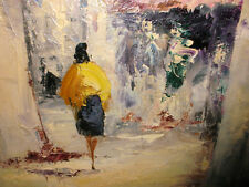 Listed Italian artist Giovanni Camprio woman on street painting palette knife