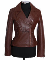 Ladies HILLARY Brown New Biker Style Real Waxed Lambskin Leather Designer Jacket