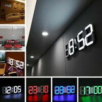 Modern Digital 3D White LED Wall Clock Alarm Clock Snooze 12/24 Hour Display NEW