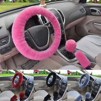 3Pc/Set Soft Steering Wheel Cover Handbrake Soft Plush Car Winter Warmer 4Colors