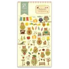 CUTE AUTUMN STICKERS Cartoon Leaves Owl Fox Bear Epoxy Craft Scrapbook Sticker