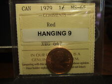 CANADA ONE CENT 1979 Hanging 9, ICCS MS-65 !!!!! Full Red
