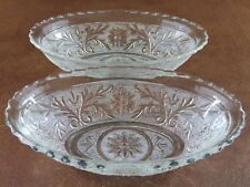 Vtg Pair Anchor Hocking SANDWICH Glass Flower & Scroll Oval Dinner Serving Bowls