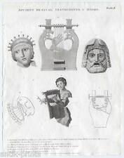 Musik-Instrument-Antike-Masken-Harfe Kupferstich 1803