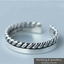 100% 925 Sterling Silver Ladies  Ring Band Open Finger Fully Adjustable Jewelry