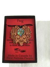 Northwest Coast First Nations native wooden Frog Pendant, signed Indigenous art