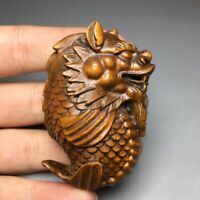 feng shui Collect Japanese boxwood carved dragon fish statue Netsuke figurines