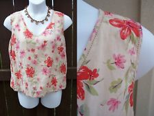Eddie Bauer linen sleeveless top blouse size XXL 2XL vneck floral tank shirt