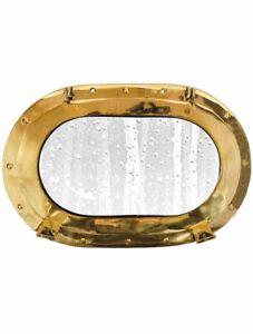 "15"" Oval Porthole Glass ~Brass ~ Nautical Maritime Wall Decor ~ Cabin Window"