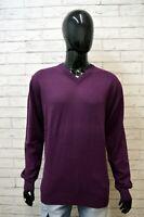 Maglione Uomo TOMMY HILFIGER Taglia 2XL Pullover Cotone Cardigan Sweater Viola
