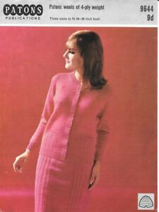 "Vintage Patons Knitting Pattern Ladies 4 Ply Cardigan/Skirt Suit 34-38"" Bust"