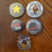 Vintage DARE Pinback Buttons & Drug abuse Education & Crime Biter Sheriff Badge