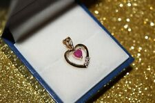 9ct Yellow Gold Red Stone Heart Pendant With Diamond Set in Below