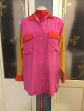 "Vintage ""Diane Von Furstenberg"" Color lock Jewel Tone Silky Button Down Blouse Z"