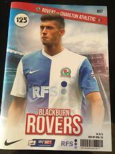 Blackburn Rovers V Charlton Athletic Programme From October 19 2013 NEW Unused.