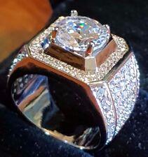 Millionaire  Silver Princess Cut White  GF MEN,S  SAPPHIRE QUARTZ RING 9us