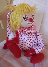 Vintage Schmid 1984 Doll Musical Clown Cloth Wind Up Music Box Heart Yellow Hair