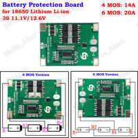 3S 20A 11.1V Lithium Li-ion 18650 Battery Packs BMS Charger Protection PCB Board