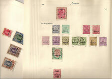 India stamps  from 1909  on album page  up to 5r value 2 stamp album pages