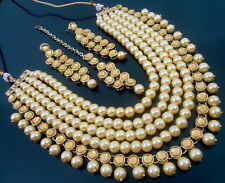 LCT KUNDAN PEARL GOLD TONE BOLLYWOOD PARTY WEAR NECKLACE EARRINGS SET JEWELRY