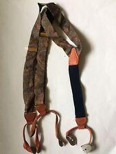 100% Silk Men's Suspenders Braces Brass Brown Leather Blue Khaki Gold Pink