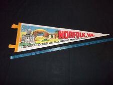 "Norfolk VA General MacArthur's Memorial Buildings Pennant  8"" x 24"" Felt Flag"