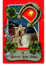 Pretty Snow Scene-Good Luck Symbols-Clover-Vintage New Years Holiday Postcard