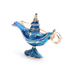BRAND NEW 18K GOLD PLATED BLUE ENAMEL ALADDIN'S LAMP MAGIC BROOCH