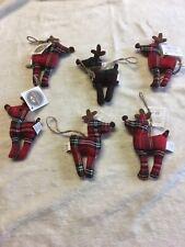 6 X Heaven Sends Tartan Reindeer - Christmas Tree Hanging Decorations