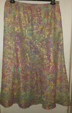 Beautiful Handmade Elastic Waist 4 Gore Skirt ~ Sparkly Gold, Pink, Aqua & Beige
